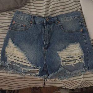 Pants - Ripped jean shorts